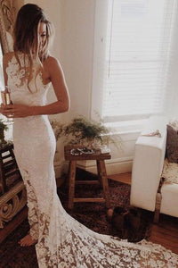 2019 Sexy Open Back Wedding Dresses Mermaid High Neck Lace With Slit