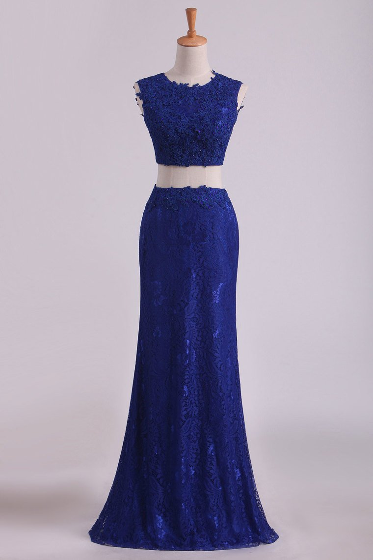 2019 Sheath Open Back Two Pieces Prom Dresses Lace With Applique & Beading Dark Royal Blue