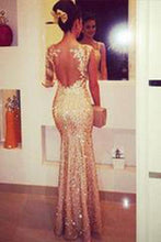 Load image into Gallery viewer, Mermaid Sweetheart Long Sleeves Gold Backless Evening Dresses with Appliques RS42