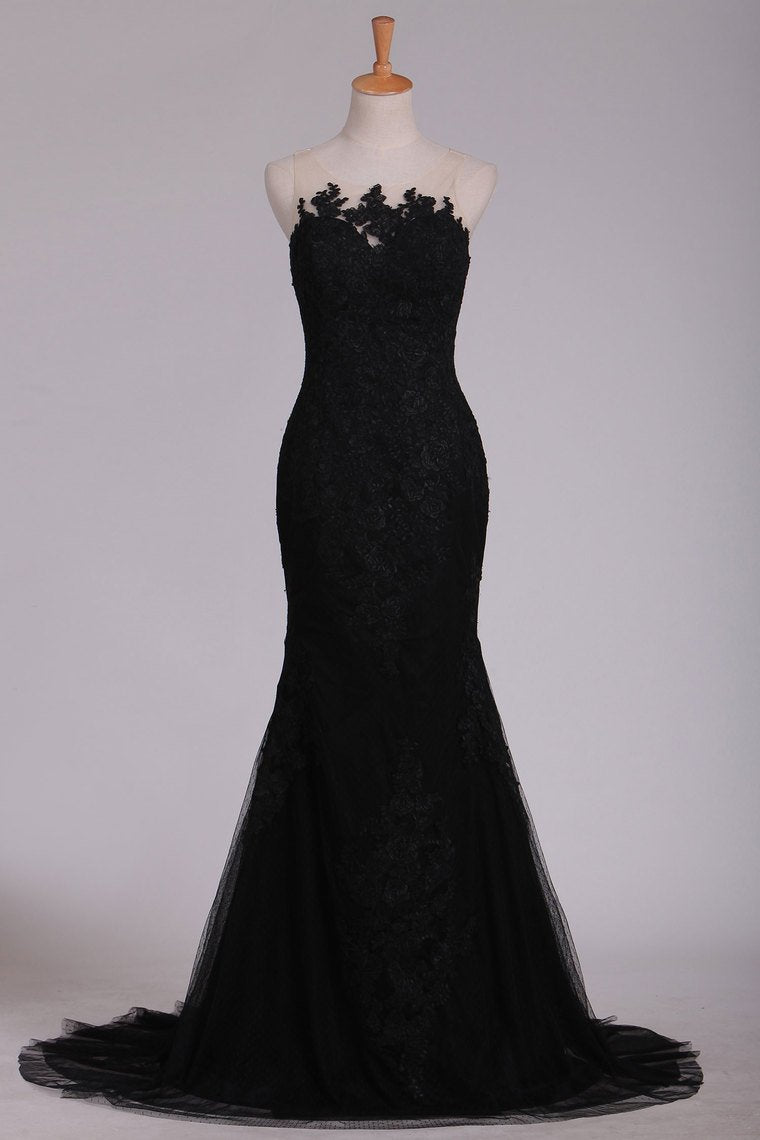 2019 Black Evening Dresses Scoop Tulle With Applique Sweep Train Mermaid/Trumpet