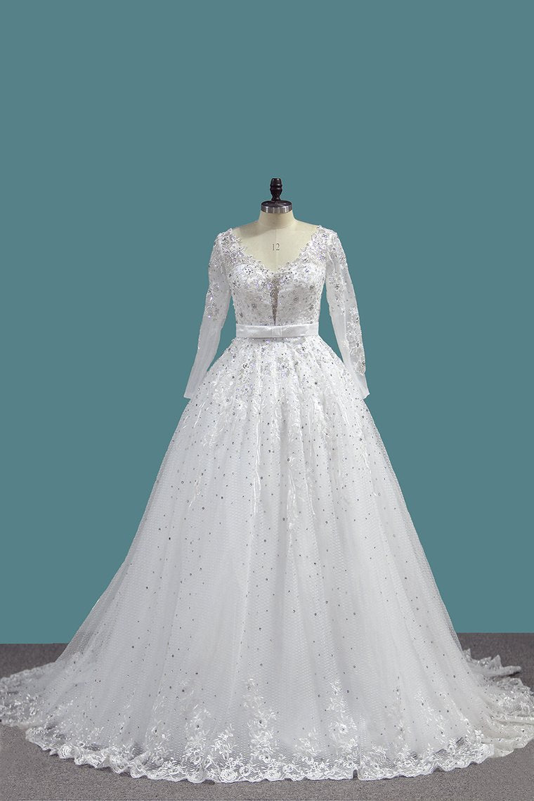 2019 A Line Long Sleeves Tulle Wedding Dresses With Applique And Sash