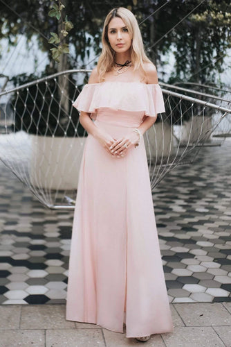 Charming Off Shoulder Ruffle Pink Chiffon Long Prom Dresses Bridesmaid Dresses SRS15114