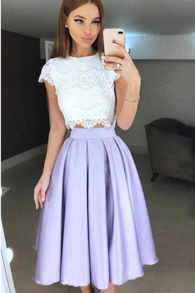 Two Piece Tea-Length Lavender Prom Homecoming Dress With Lace Pleats