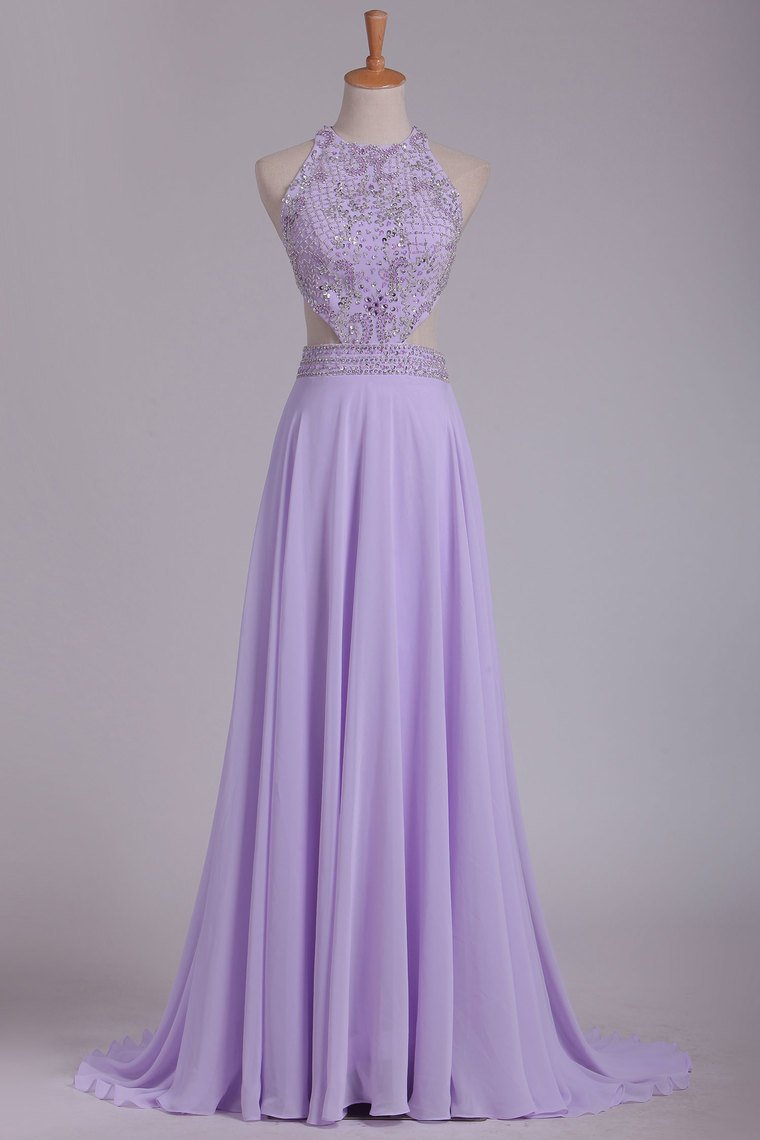 2019 Scoop Prom Dresses A Line Chiffon With Beading Sweep Train