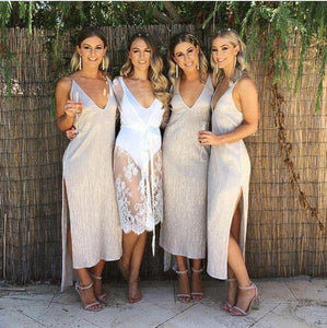 A line Ankle Length Deep V Neck Bridesmaid Dresses with Side Slit Wedding Party Dress RS913