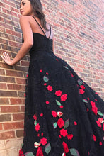 Load image into Gallery viewer, Charming Spaghetti Straps Long Black And Red Princess Prom Dresses