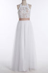 Simple A-Line White Open Back Jewel Sleeveless Floor-Length Lace Top Halter Wedding Dress RS381