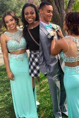 mint green long charming prom dress two pieces prom dress beaded evening dress BD2884