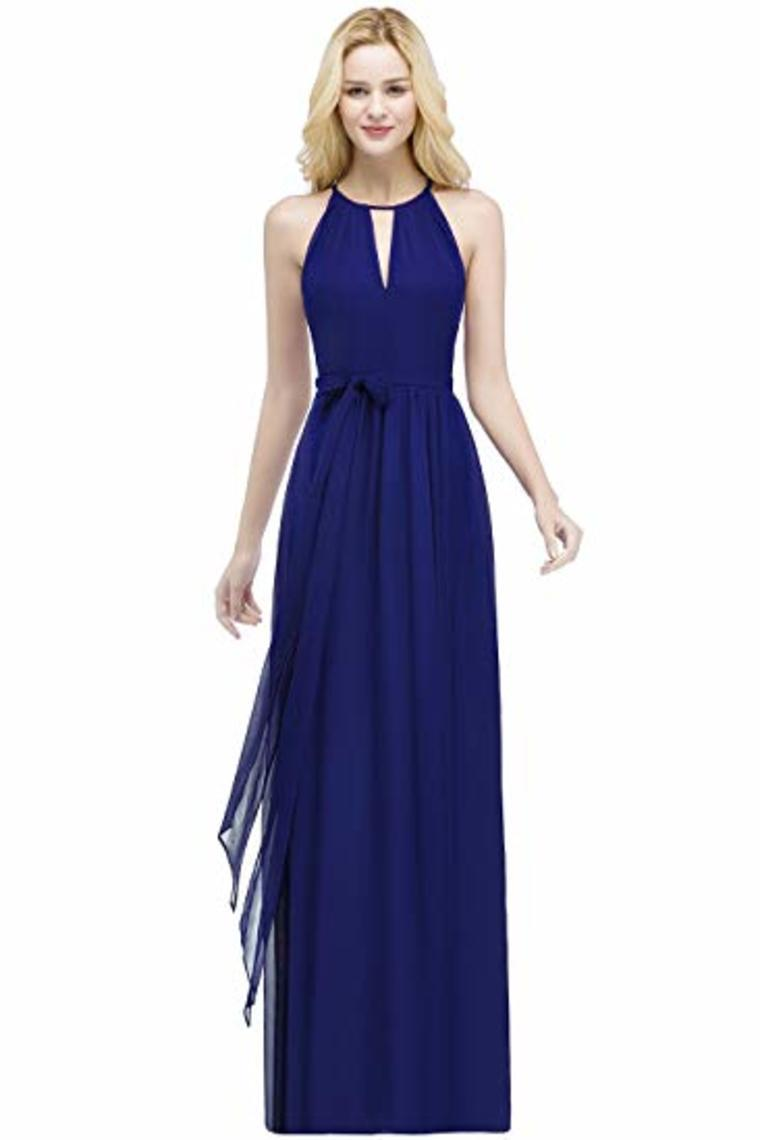 Bow Knot Chiffon Round Neck A Line Sleeveless Wedding Bridesmaid Long Evening  Festive Party Dress
