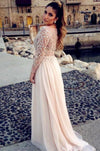 Long Sleeve Fashion Chiffon Long Scoop Pink A-Line Beads Custom Sexy Prom Dresses RS979
