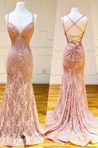 Mermaid Spaghetti Straps Pink Lace V Neck Beads Prom Dresses with SRS20426