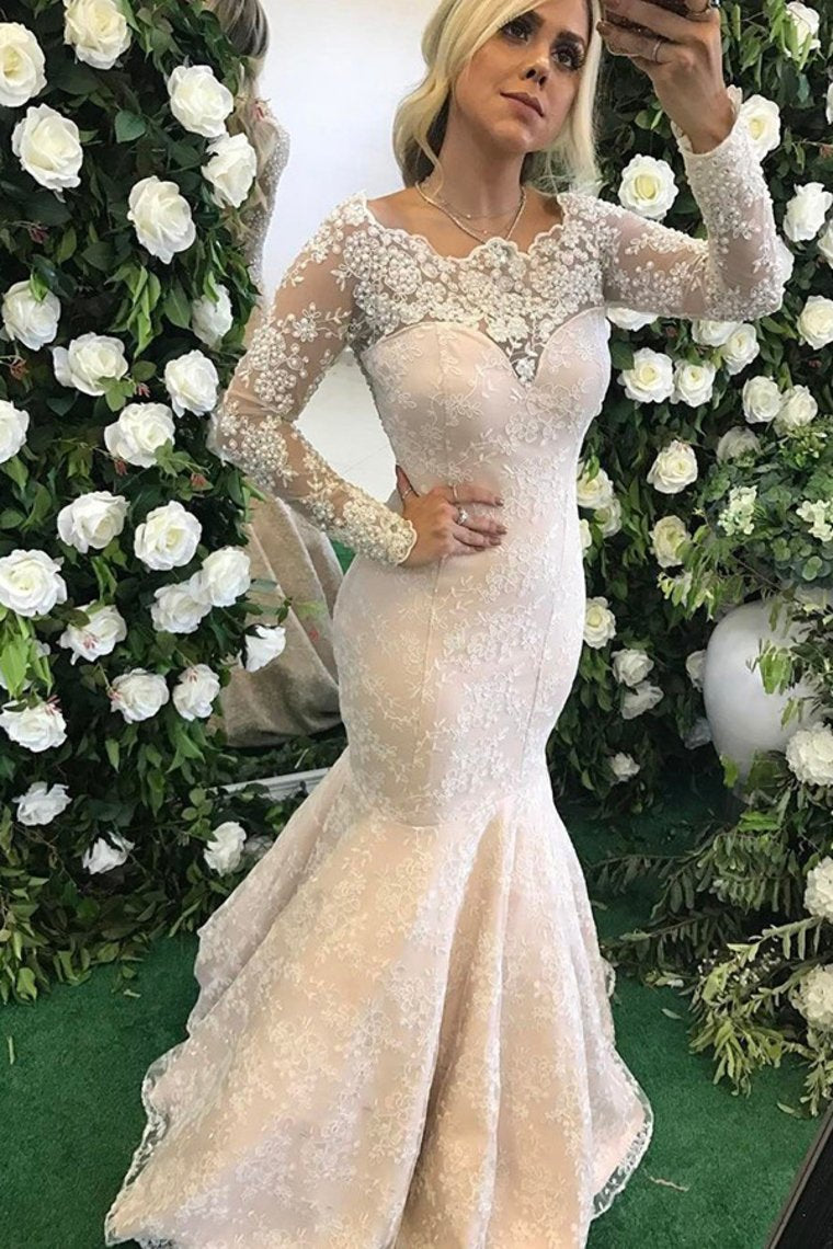 2019 Long Sleeves Scoop Mother Of The Bride Dresses Mermaid Lace With Applique