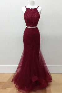 Hot-Selling Two-Piece Mermaid Halter Sleeveless Burgundy Long Prom Dress with Beading RS779