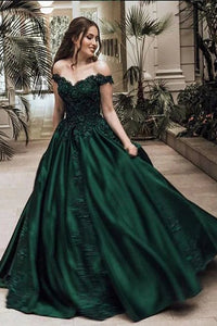 Elegant Ball Gown Off-The-Shoulder Lace Satin Prom Dress
