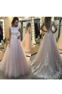 2019 Scoop Tulle With Applique And Sash A Line Lace Up Wedding Dresses