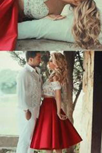 Two Piece Red Satin Lace Off-the-shoulder White Short Sleeve Tea-Length Party Dresses RS59
