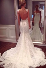 Load image into Gallery viewer, 2019 Spaghetti Straps Open Back Wedding Dresses Mermaid Lace With Applique