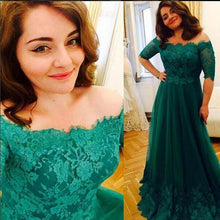 Load image into Gallery viewer, Princess Green Lace Short Sleeve A Line Tulle Vintage Plus Size Evening Formal Dresses RS689