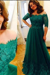 Princess Green Lace Short Sleeve A Line Tulle Vintage Plus Size Evening Formal Dresses RS689