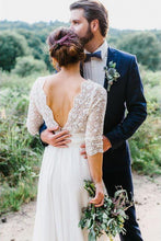 Load image into Gallery viewer, 3/4 Sleeve See Through Backless Lace Wedding Gowns Chiffon Rustic Wedding Dresses RS815