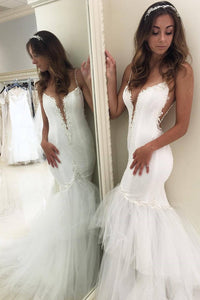 2019 Mermaid Spaghetti Straps Wedding Dresses Tulle With Applique And Beads