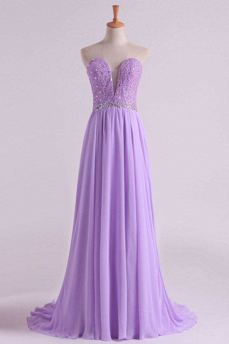 2019 Sweetheart Beaded Bodice Prom Dresses Chiffon With Slit A Line