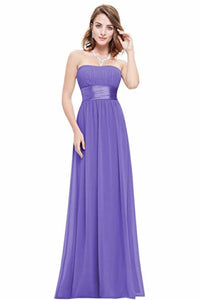 Chiffon Sweetheart Neck A Line Sleeveless Wedding Bridesmaid Long Evening  Festive Party Dress