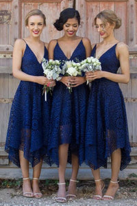 Dark Navy Spaghetti Straps Short Lace Bridesmaid Dresses