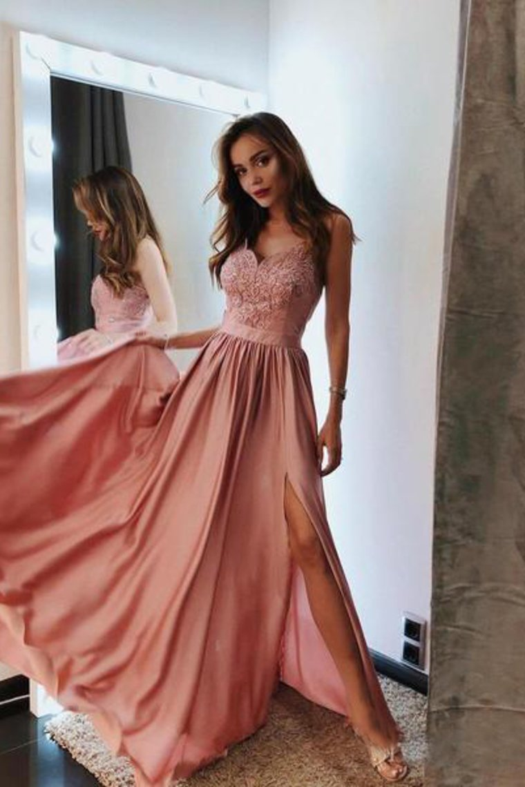 2019 Pink V Neck Long Prom Dresses Lace And Beaded Prom Dress With Slit  Evening Dress