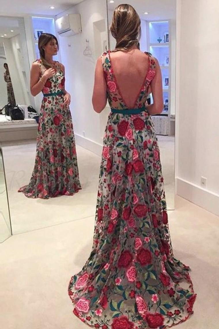 2019 Beautiful Prom Dresses Scoop Aline Rose Floral Embroidery Lace Prom Dress