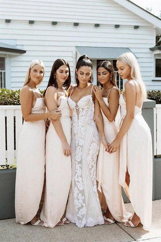 A Line Chiffon Spaghetti Straps Blush Pink Bridesmaid Dresses with Split, Long Prom Dress SRS15486