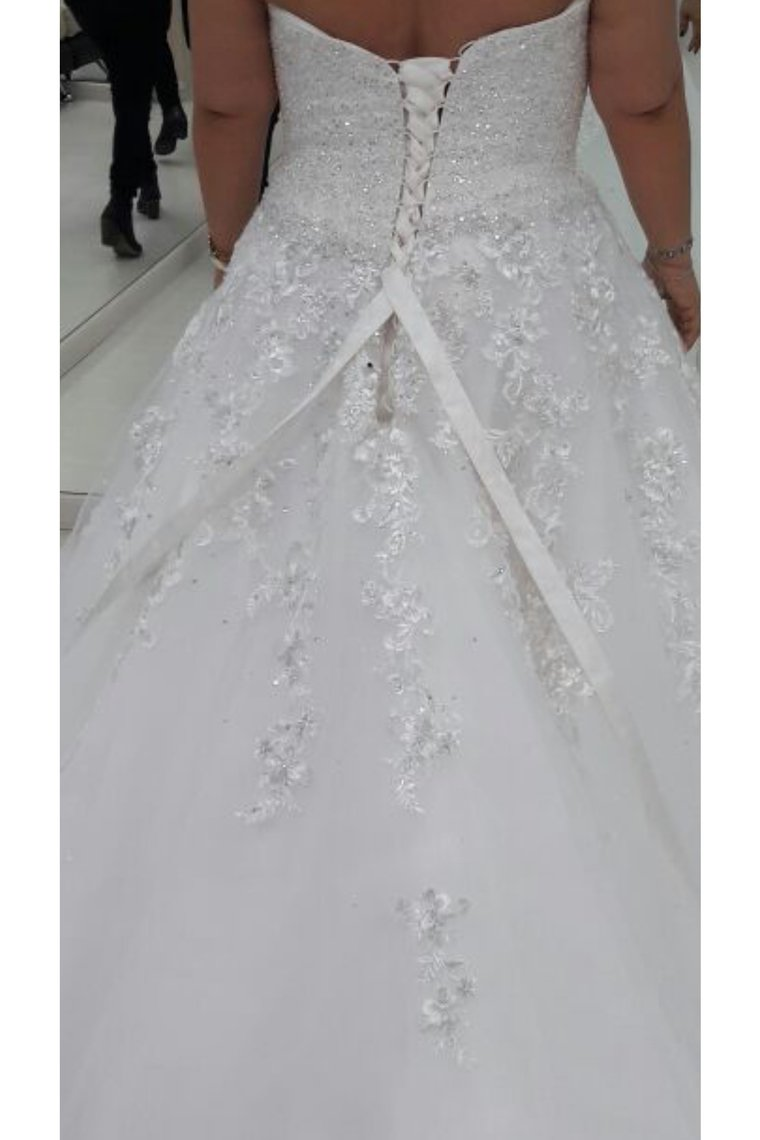 2019 Wedding Dresses Sweetheart Tulle A Line With Applique And Beads Lace Up