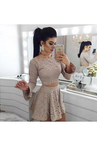 Two Piece A-Line Long Sleeves Lace Short Homecoming Dress