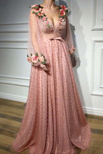 Load image into Gallery viewer, 3D Floral Long Sleeve Pink Prom Dresses Pearl Beaded V Neck Formal Dresses RS377