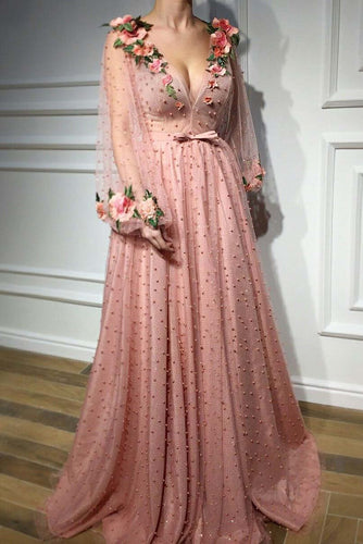 3D Floral Long Sleeve Pink Prom Dresses Pearl Beaded V Neck Formal Dresses RS377
