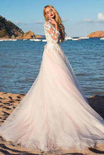 Load image into Gallery viewer, Tulle Scoop Neckline Pink A-line Lace Appliques Long Sleeves Bowknot Wedding Dresses RS311