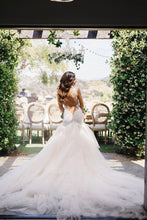 Load image into Gallery viewer, Mermaid Boat Neck Chapel Train Ivory Tulle Sleeveless Wedding Dress with Appliques Ruffles RS233