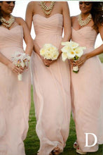 Load image into Gallery viewer, Long Light Pink Mismatched A-Line One Shoulder Sleeveless Elegant Bridesmaid Dresses RS523