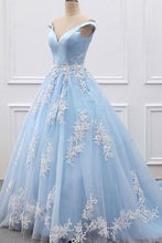 Load image into Gallery viewer, 2019 Sky Blue Appliques Charming Ball Gown Off-the-Shoulder V-Neck Prom Dresses RS573