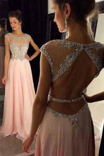 Load image into Gallery viewer, Backless Beaded Blush Pink Long Sexy Open Back Cap Sleeve Scoop Prom Dresses RS964