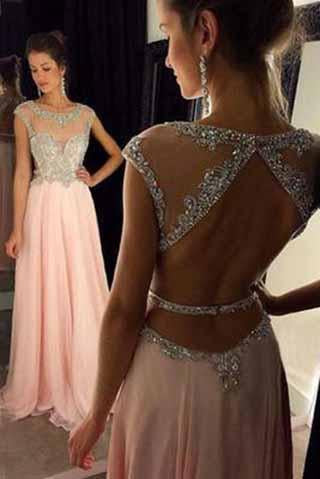 Backless Beaded Blush Pink Long Sexy Open Back Cap Sleeve Scoop Prom Dresses RS964