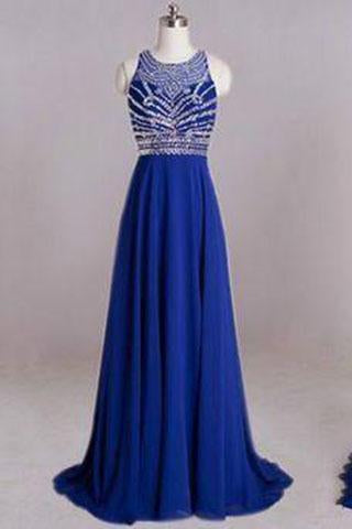 Backless Royal Blue Open Back Sleeveless Halter Chiffon Formal Gown For Senior Teens RS990