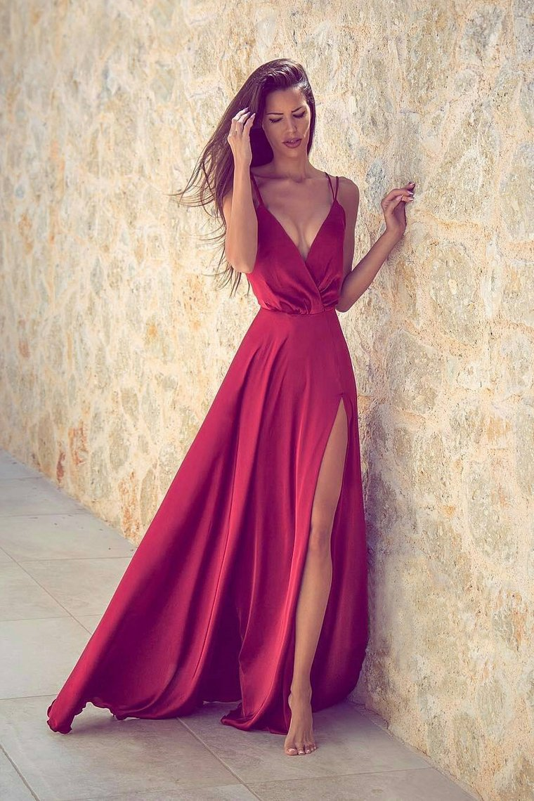 2019 Sexy Evening Dresses Spaghetti Straps A Line With Slit
