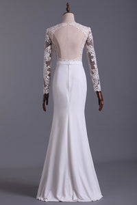 Wedding Dresses Scoop Long Sleeves With Sash Sweep Train Backless