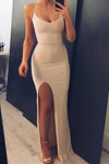 Simple Mermaid Side Slit Spaghetti Straps Long Prom Dresses Cheap Formal Dresses SRS15395