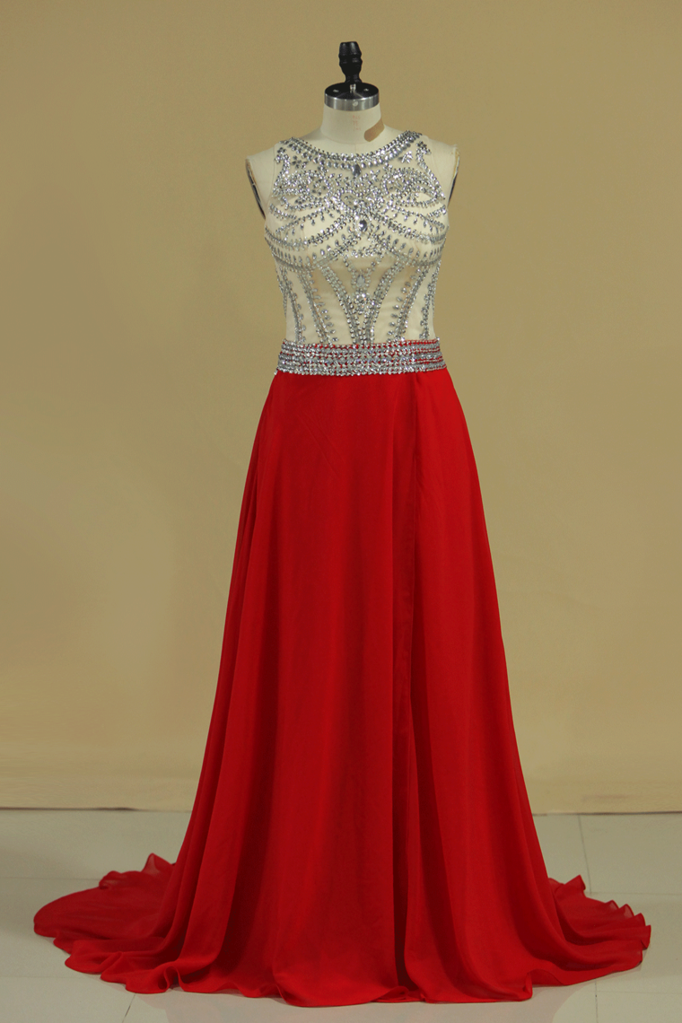2019 Scoop Prom Dresses A Line Beaded Bodice Court Train Chiffon