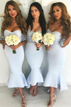 Load image into Gallery viewer, Off The Shoudler Elegant Sheath Mermaid Light Blue Bridesmaid Dresses