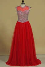 Load image into Gallery viewer, 2019 V Neck Beaded Bodice Tulle Prom Dresses A Line Sweep Train