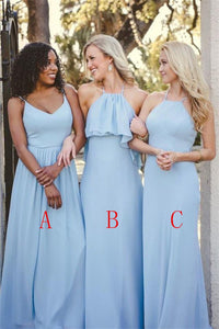 Elegant Sky Blue Long Simple Cheap Chiffon Bridesmaid Dresses