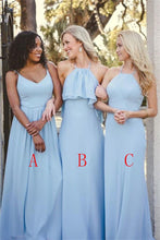 Load image into Gallery viewer, Elegant Sky Blue Long Simple Cheap Chiffon Bridesmaid Dresses